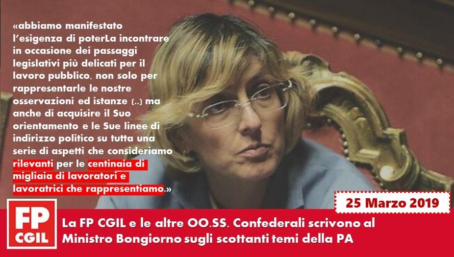 La FP CGIL e le altre OO.SS. Confederali scrivono al Ministro Bongiorno sugli scottanti temi della PA