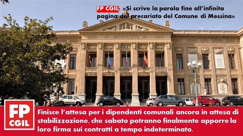 Comune di Messina, giorno 30 marzo firma dei contratti a tempo indeterminato per i 75 lavoratori precari di palazzo Zanca. Grande soddisfazione delle FP  CGIL