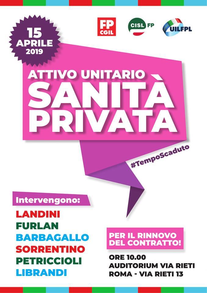 Sanità Privata, 15 aprile attivo su contratto con Landini, Furlan e Barbagallo