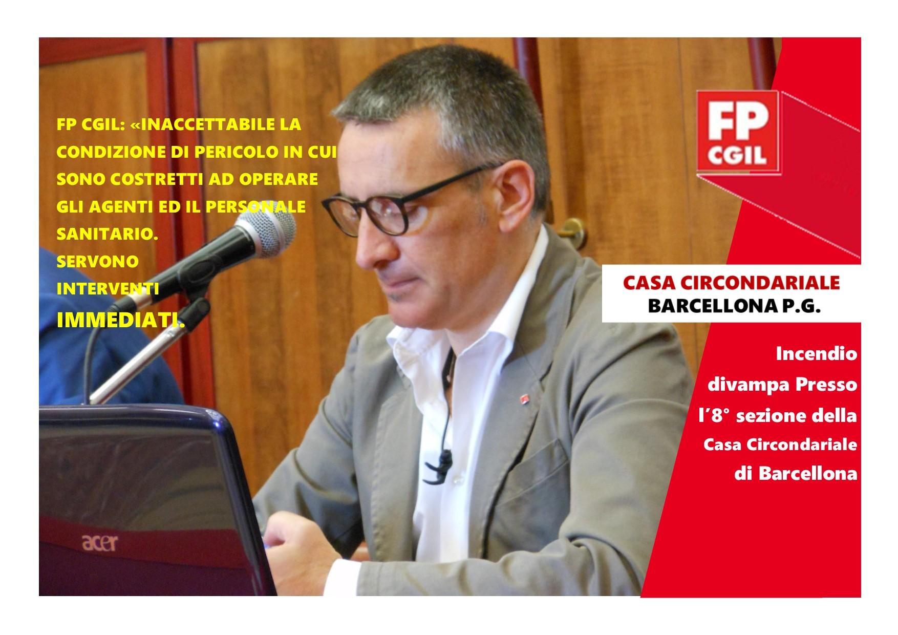 Incendio divampa Presso l'8° sezione della Casa Circondariale di Barcellona, FP CGIL: «Inaccettabile la condizione di pericolo in cui sono costretti ad operare gli agenti ed il personale sanitario. Servono interventi immediati»