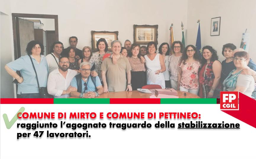 Comuni di Mirto e Pettineo: raggiunto l'agognato traguardo della stabilizzazione per 47 lavoratori