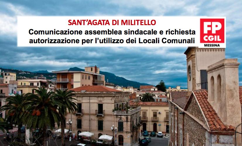 Sant'Agata di Militello, comunicazione assemblea sindacale e richiesta autorizzazione per l'utilizzo dei Locali Comunali