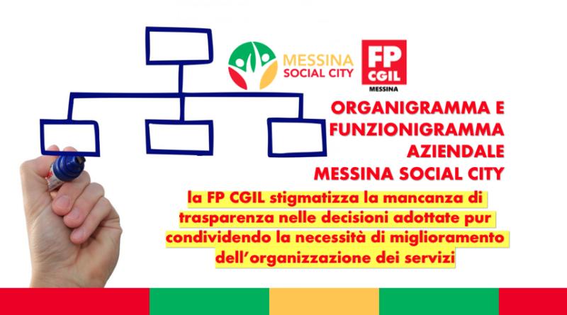Organigramma e funzionigramma aziendale Messina Social City, la FP CGIL stigmatizza la mancanza di trasparenza nelle decisioni adottate pur condividendo la necessità di miglioramento dell'organizzazione dei servizi