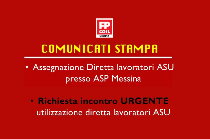 Assegnazione Diretta lavoratori ASU presso ASP Messina e richiesta incontro URGENTE