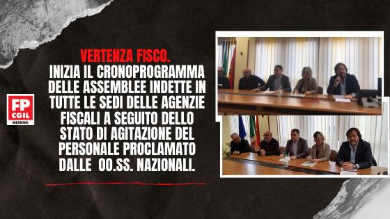 Vertenza Fisco. Inizia il cronoprogramma delle assemblee indette in tutte le sedi delle Agenzie Fiscali a seguito dello stato di agitazione del personale proclamato dalle  OO.SS. Nazionali.