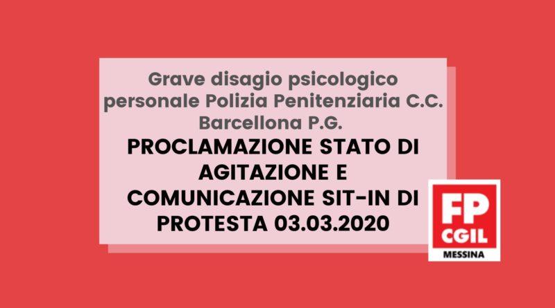 Grave disagio psicologico personale Polizia Penitenziaria C.C. Barcellona P.G. Proclamazione stato di agitazione e comunicazione sit-in di protesta 03.03.2020