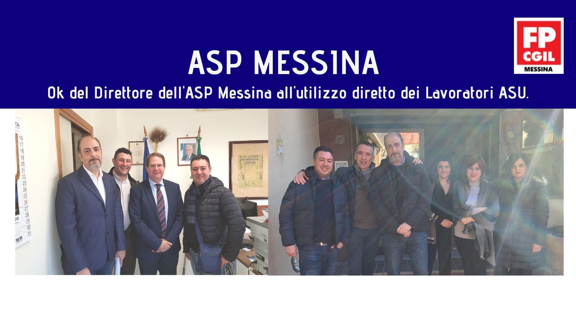 ASP MESSINA, OK del Direttore dell'ASP Messina all'utilizzo diretto dei Lavoratori ASU