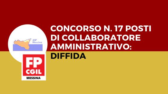 ASP MESSINA – Concorso n. 17 posti di Collaboratore Amministrativo: diffida.