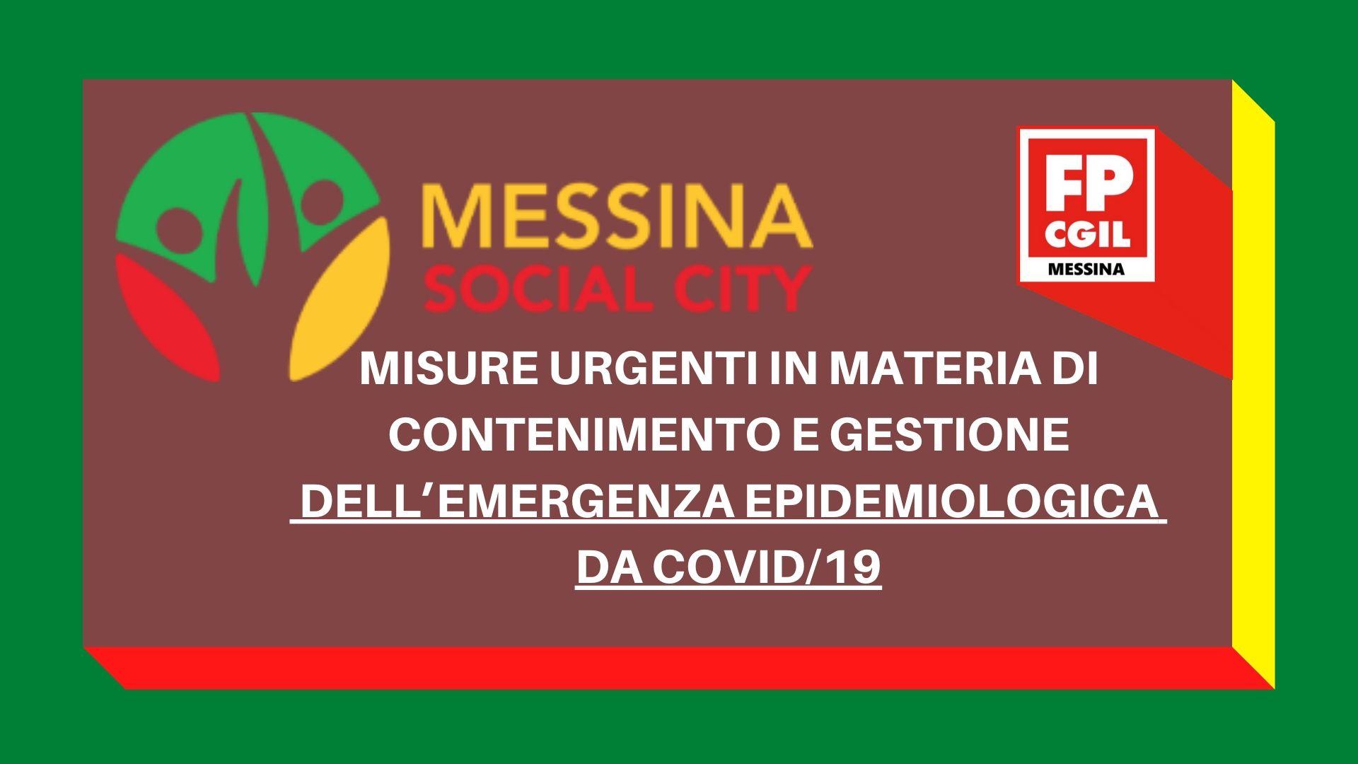 Azienda Messina Social City: Misure urgenti in materia di contenimento e gestione dell'emergenza epidemiologica da COVID19.