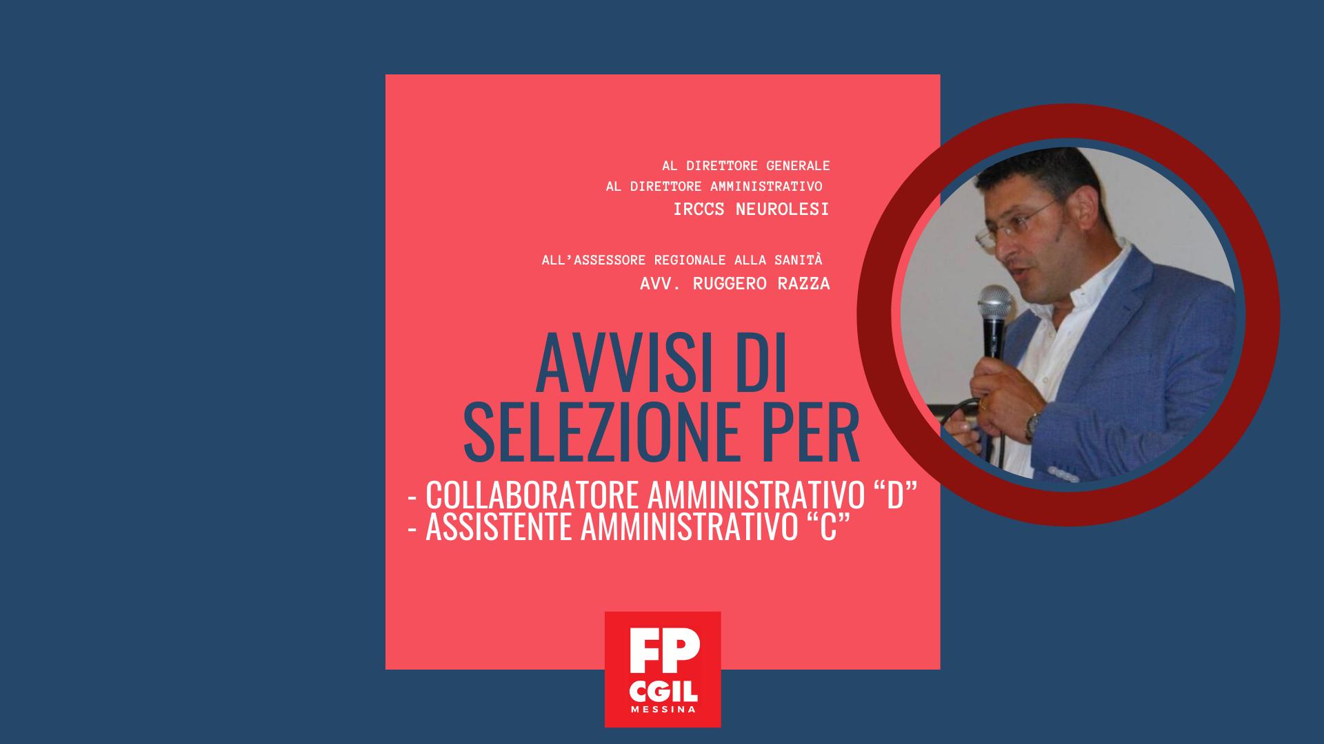 """Avvisi di selezione per Collaboratore Amministrativo """"D"""" e Assistente Amministrativo """"C""""."""