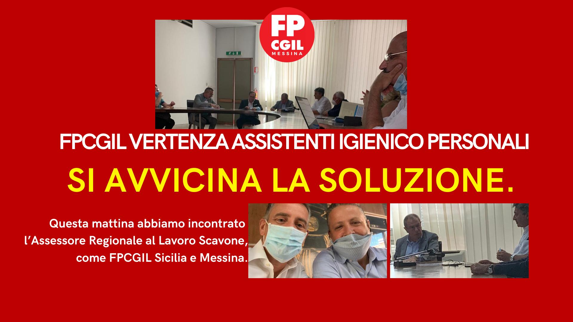 Vertenza Assistenti Igienico Personali, si avvicina una soluzione. Questa mattina, a Catania, incontro tra l'Assessore Scavone e la FP CGIL