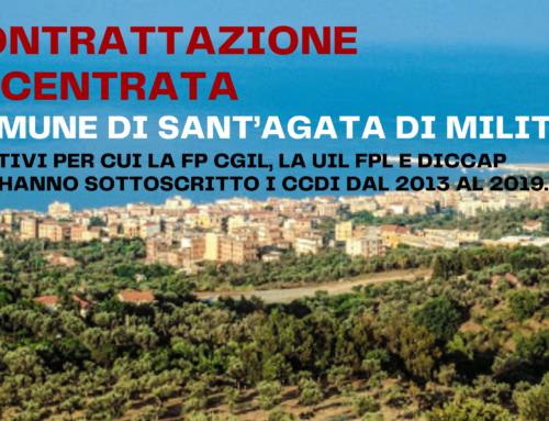 Contrattazione decentrata Comune di Sant'Agata di Militello, i motivi per cui la FP CGIL, la UIL FPL e DICCAP non hanno sottoscritto i CCDI dal 2013 al 2019.