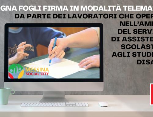 Messina Social City – consegna fogli firma in modalità telematica