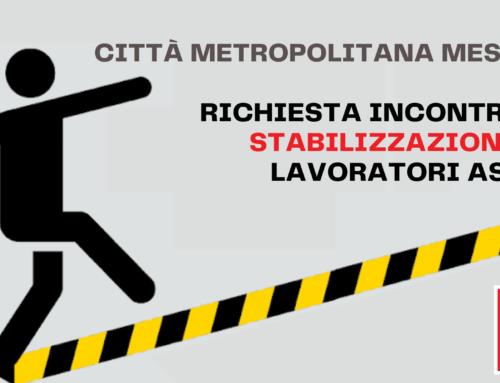 Richiesta incontro stabilizzazione lavoratori ASU presso Città Metropolitana di Messina.