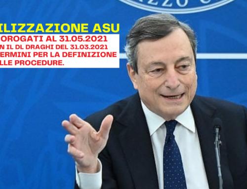 Stabilizzazione ASU. Prorogati al 31.05.2021 con il DL Draghi del 31.03.2021 i termini per la definizione delle procedure.