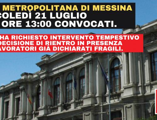"""Città Metropolitana Messina – Tutela lavoratori """"fragili"""" Richiesta urgente confronto."""