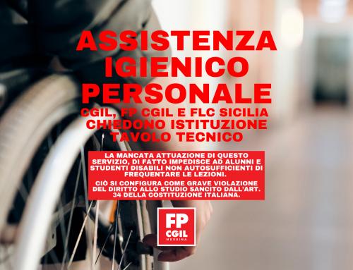 Assistenza Igienico Personale – Cgil, fp cgil e flc Sicilia  chiedono istituzione tavolo tecnico